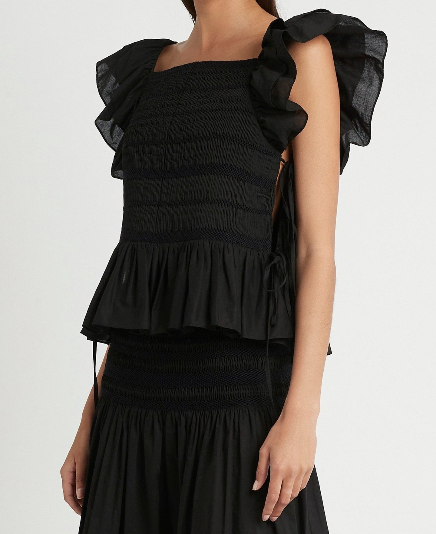 SIR the label CECIL SMOCKED RUFFLE TOP BLACK