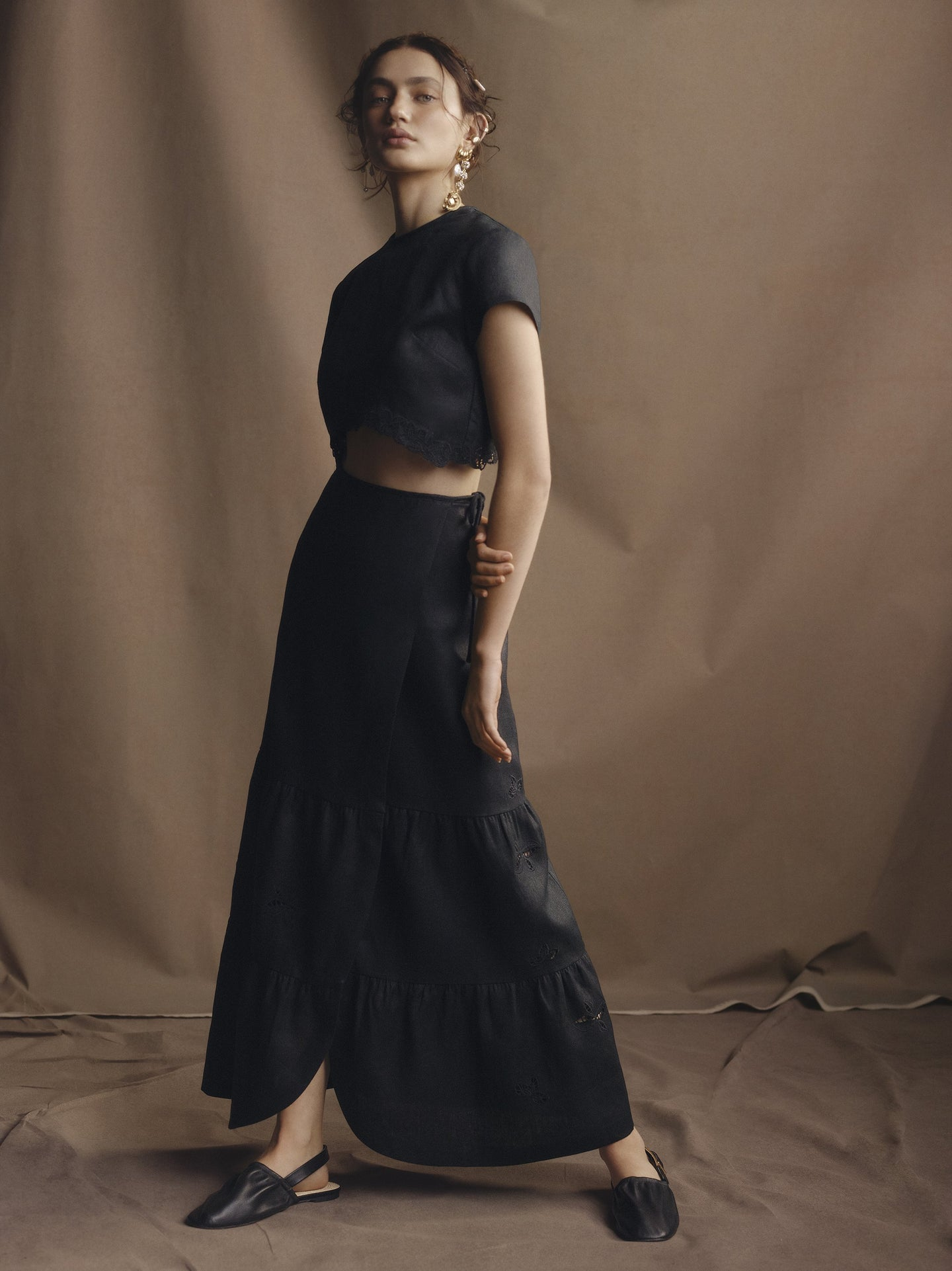 SIR the label ALENA WRAP MAXI SKIRT BLACK