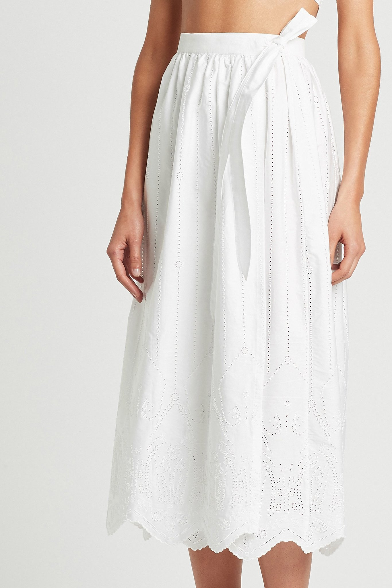 SIR the label DELILAH WRAP MIDI SKIRT WHITE