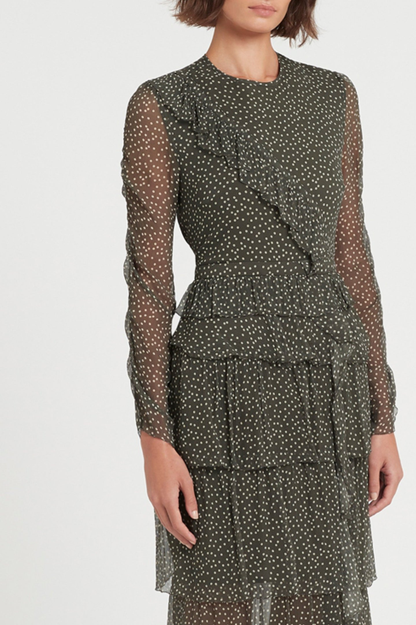 SIR the label ISABELLA LONG SLEEVE RUFFLE GOWN OLIVE POLKA DOT