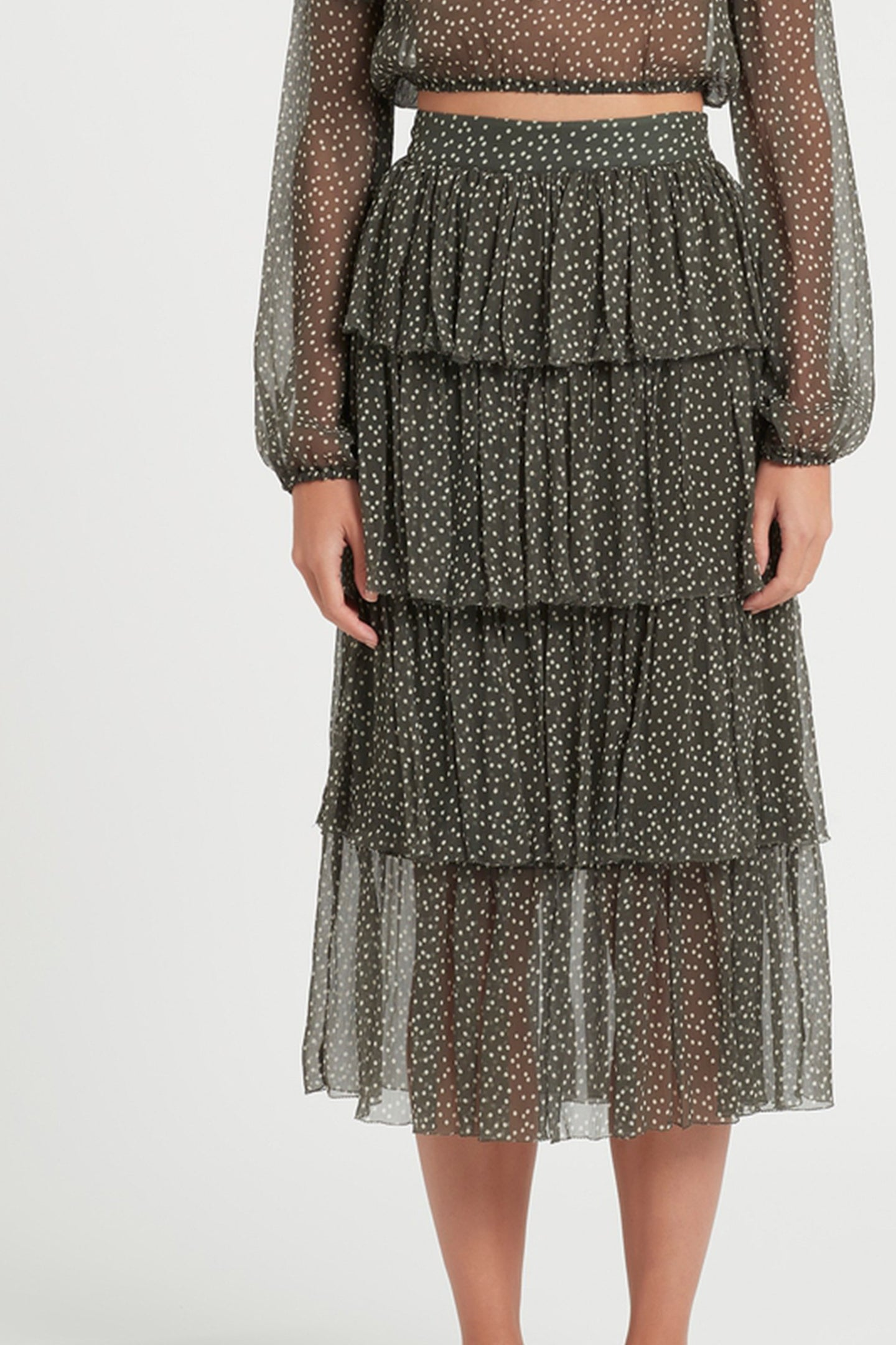 SIR the label ISABELLA TIERED SKIRT OLIVE POLKA DOT