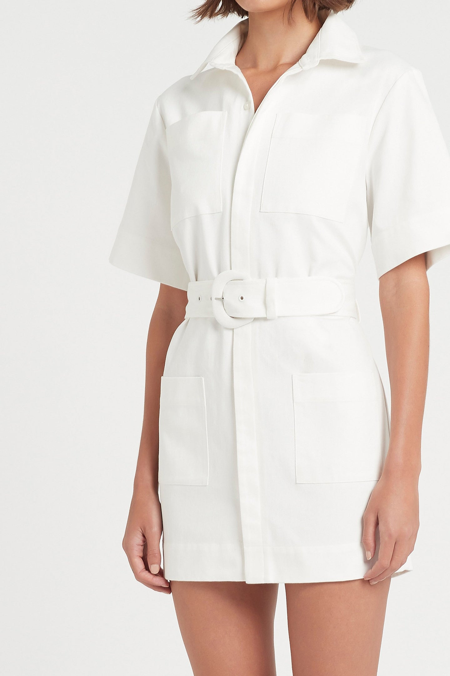 SIR the label SABINE BUTTON DOWN MINI DRESS IVORY