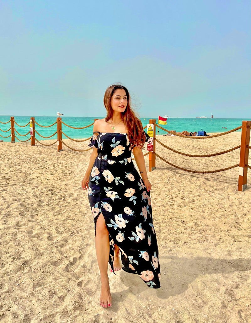 Black Floral Off Shoulder Beach Dress