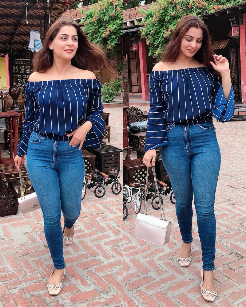 Blue Striped Off Shoulder Top
