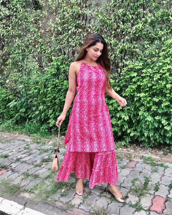 Pink Block Printed Kurta Sharara Set