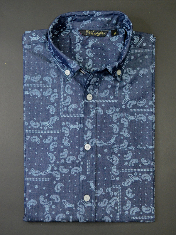 Bandana Print Denim Men's Shirt