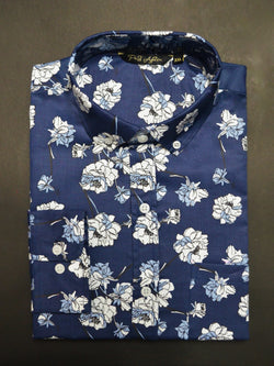 Blue Valentine Print Casual Men's Shirt