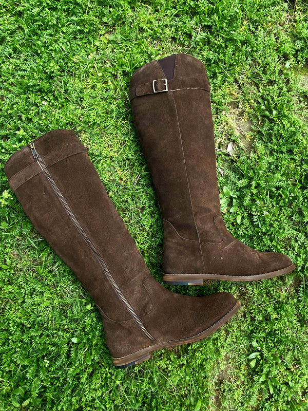 Women Brown Suede Leather Long Boots