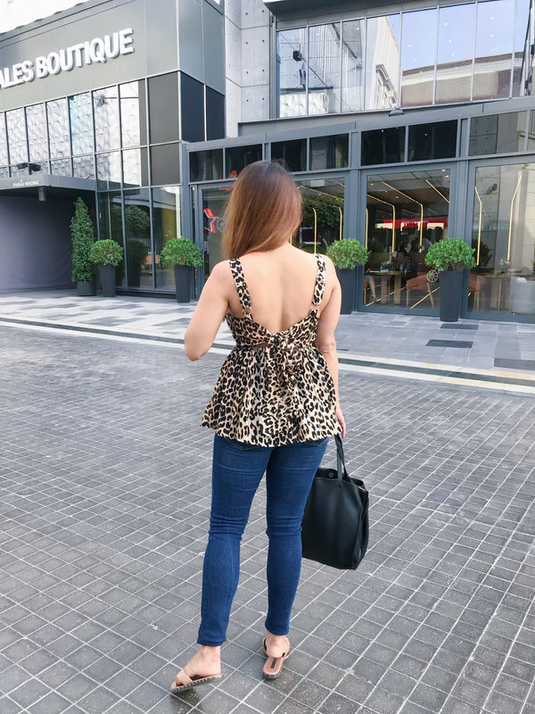 Leopard Print Tie Up Top