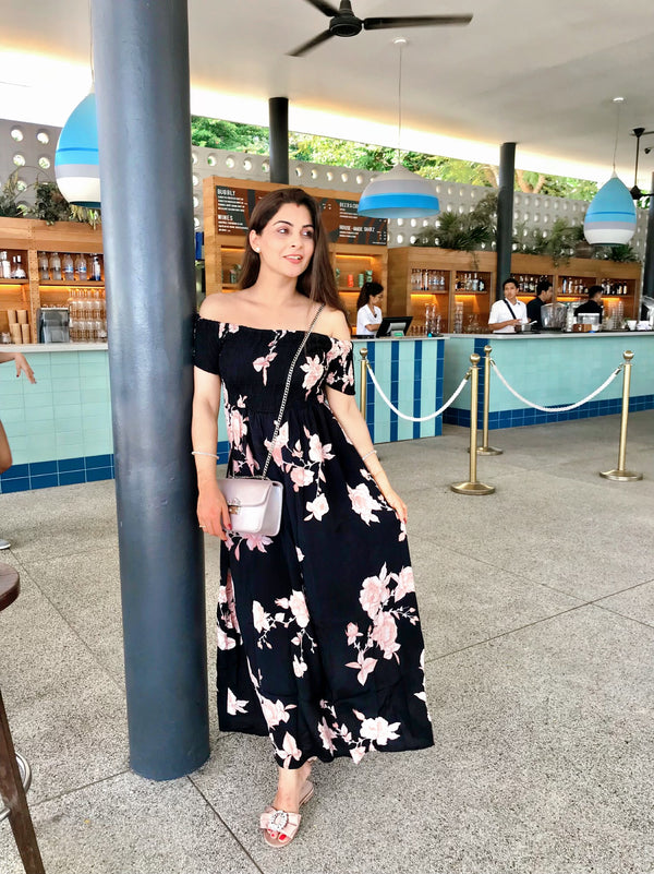 Black Floral Off Shoulder Dress