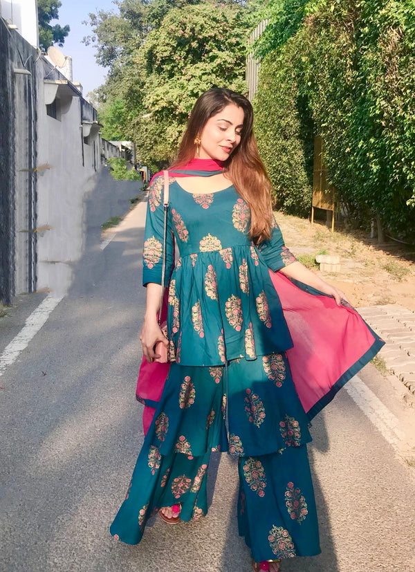 Teal Block Print Dupatta Suit Set