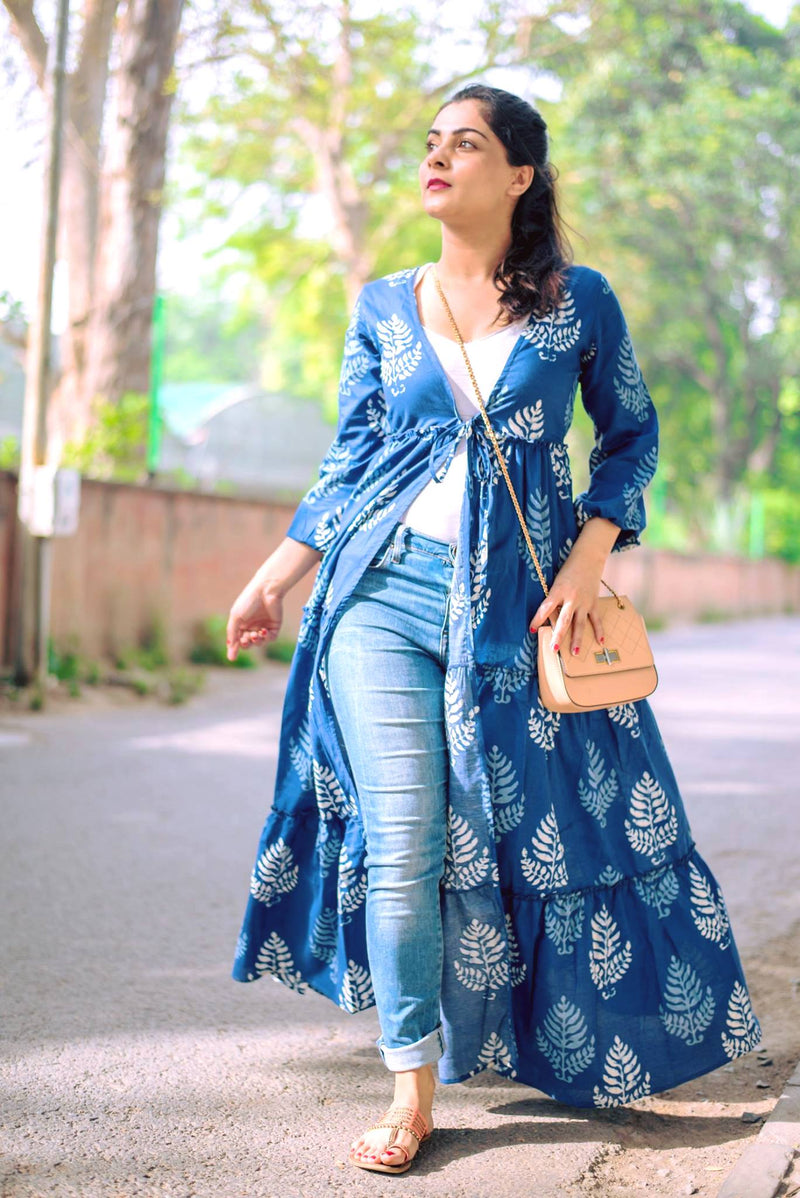 Indigo Leaf Print Cape Jacket
