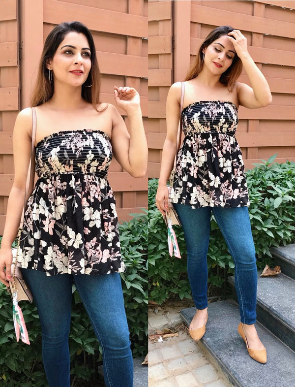 Floral Print Tube Top