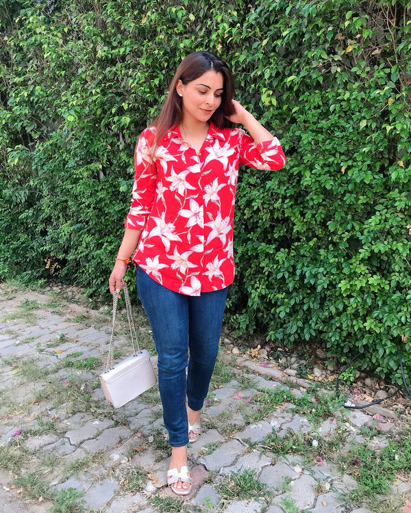 Floral Red Shirt