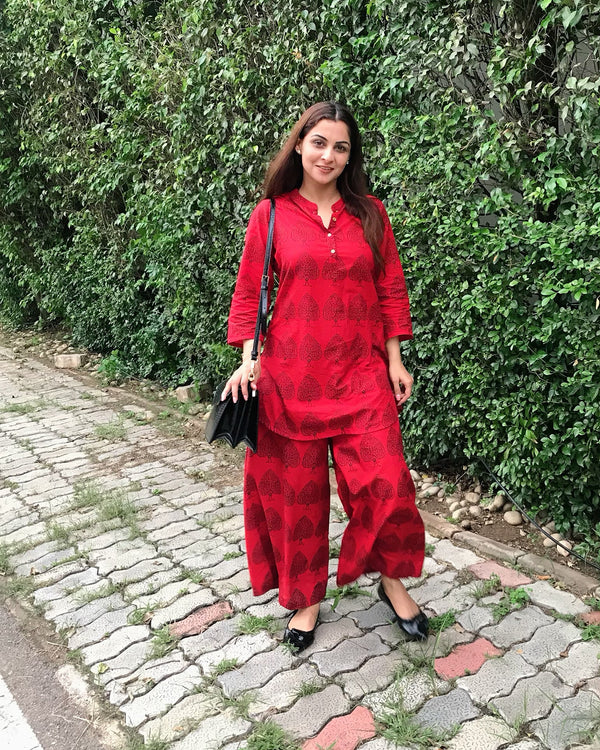 Red Kurta Pyjama Set