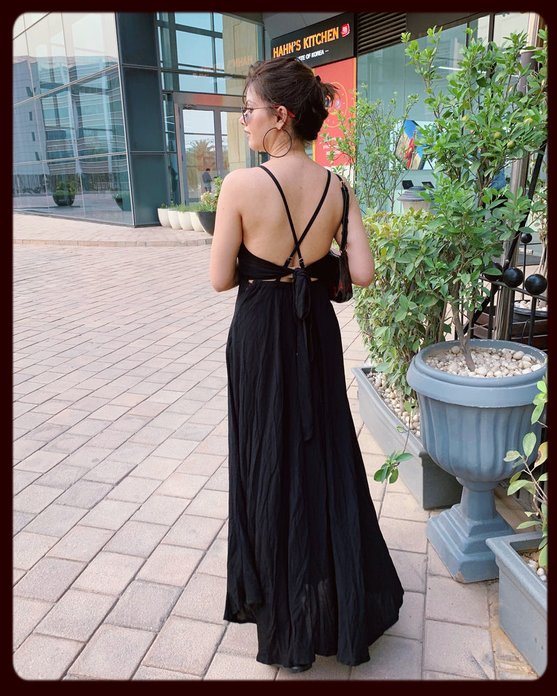 Black Knot Up Maxi Dress (With back Knot)