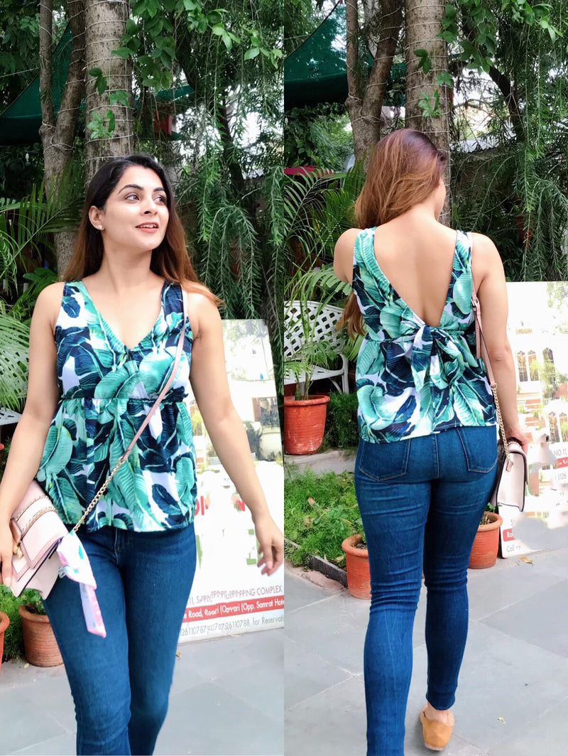 Tropical Print Knot Up Top