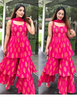 Pink Printed Dupatta Suit Set