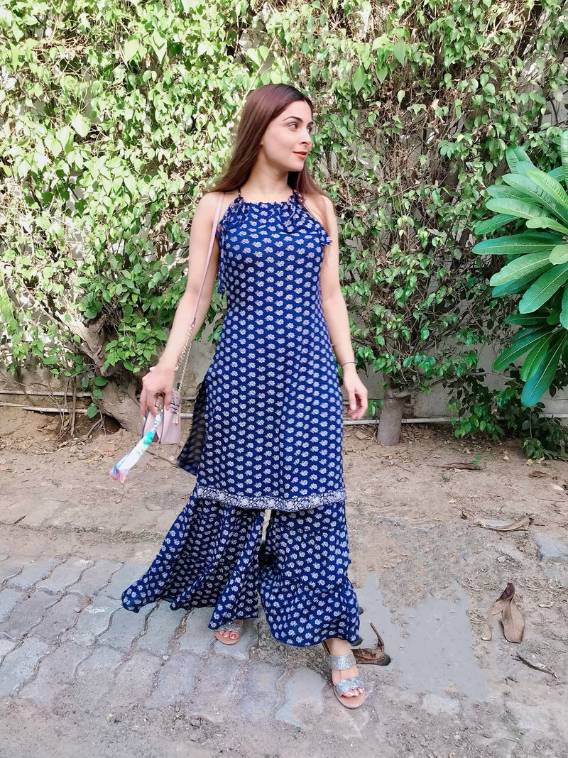 Blue Printed Kurta Sharara Set