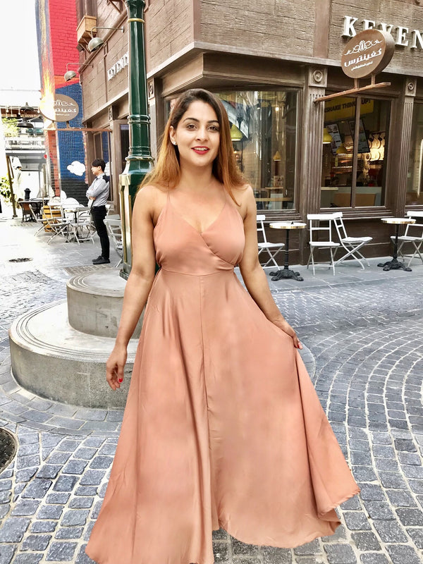 Flowy Nude Tie Up Dress