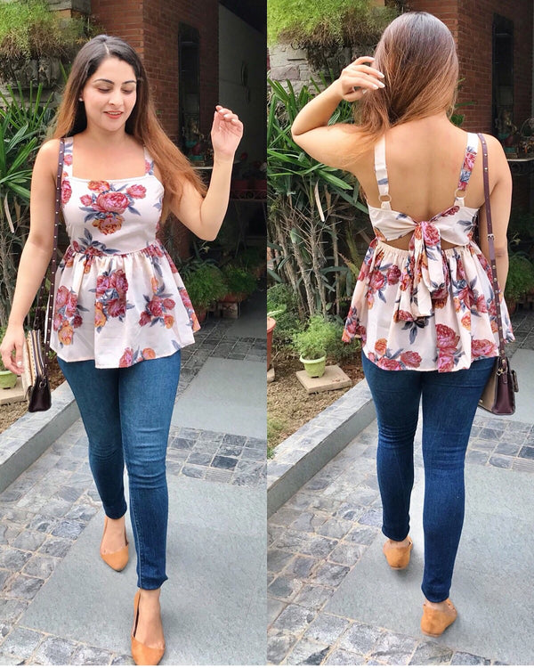 Creamy Floral Tie Up Top