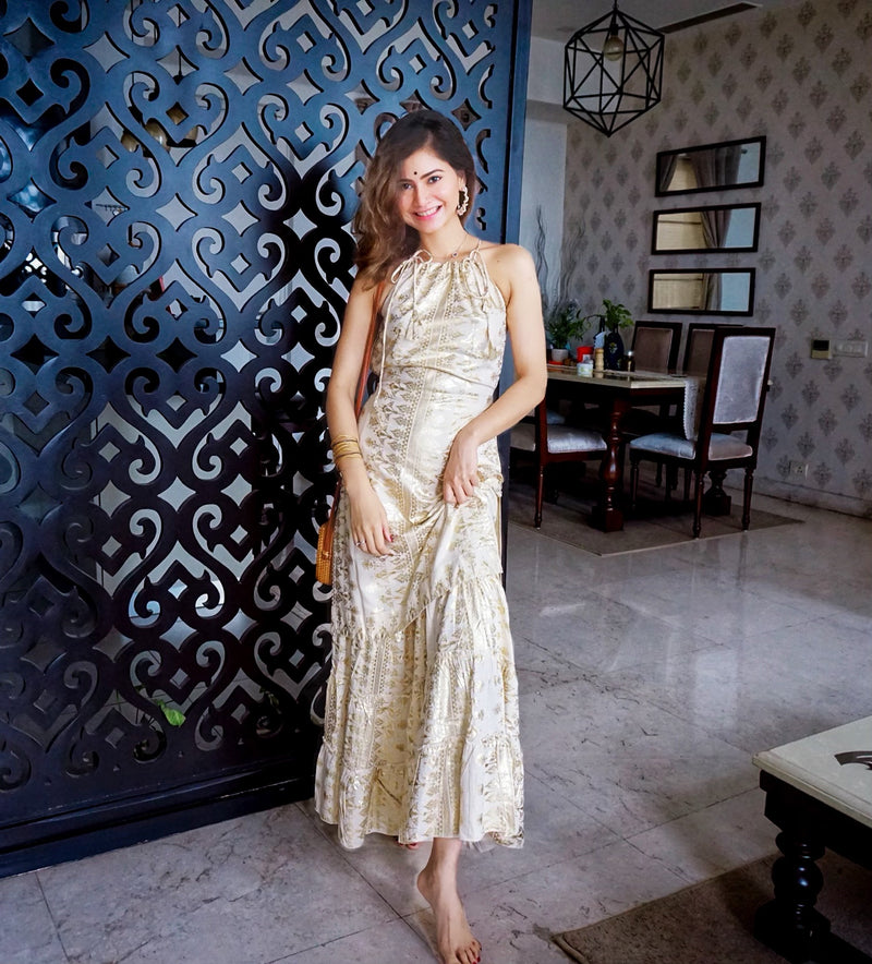 Gold Foil Print Kurta Sharara Set