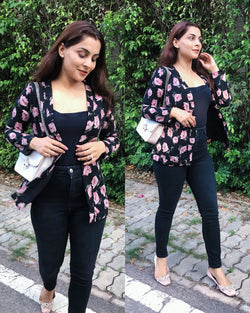 Black Floral Shrug Coat