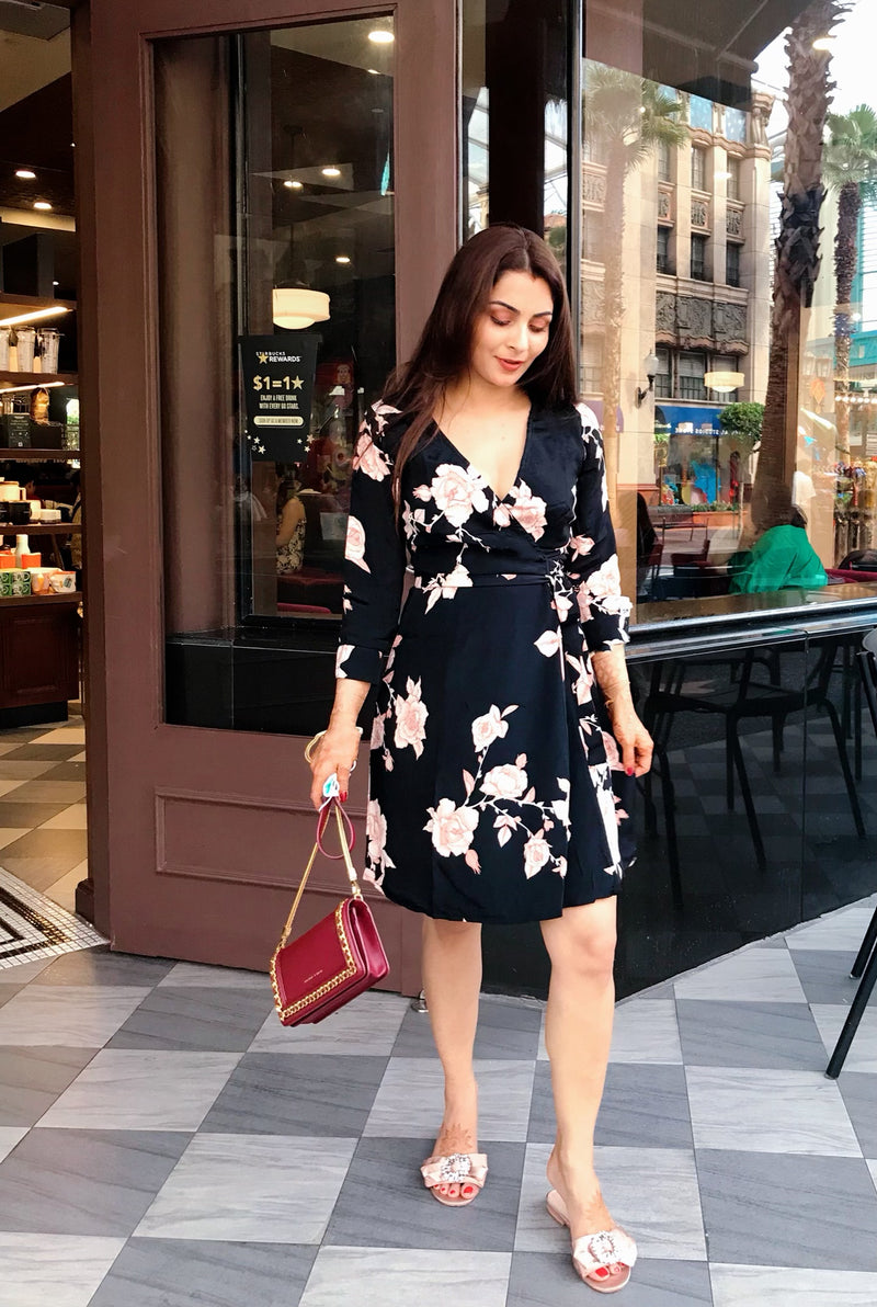 Black Floral Wrap Dress