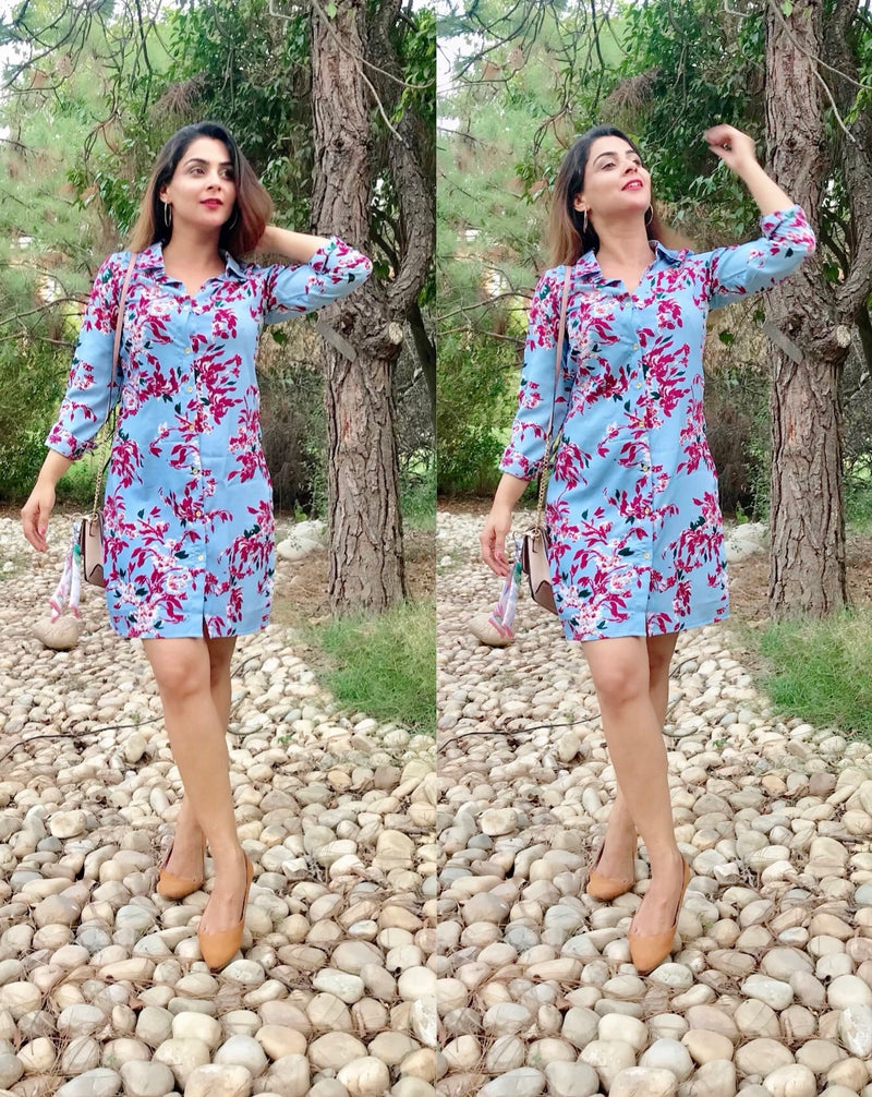 Contrast Printed Shirt Dress