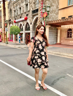 Black Floral Frill Dress