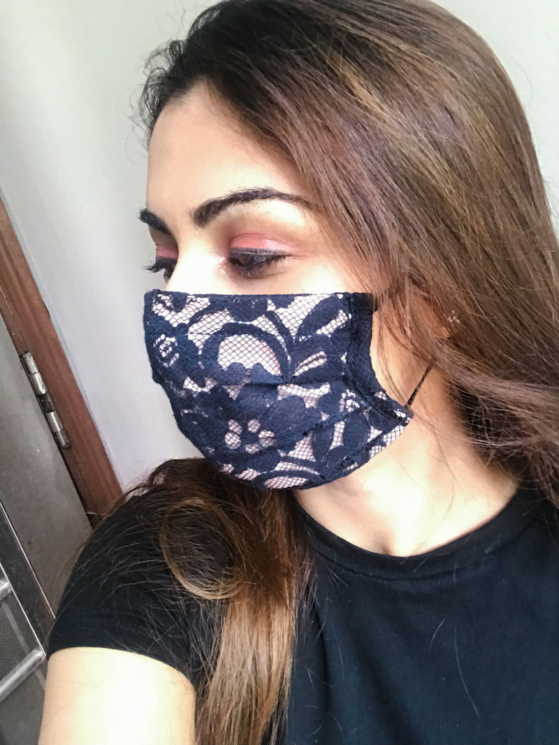 Blue cotton layered mask