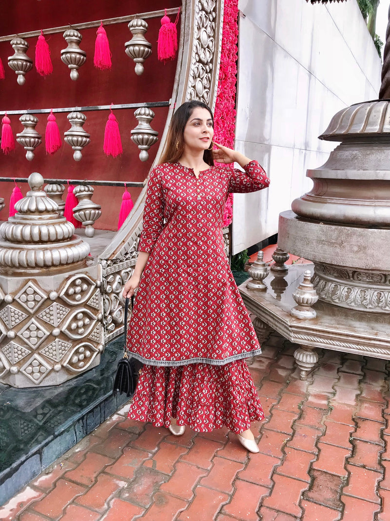 Fuchsia Printed Kurta Sharara Set