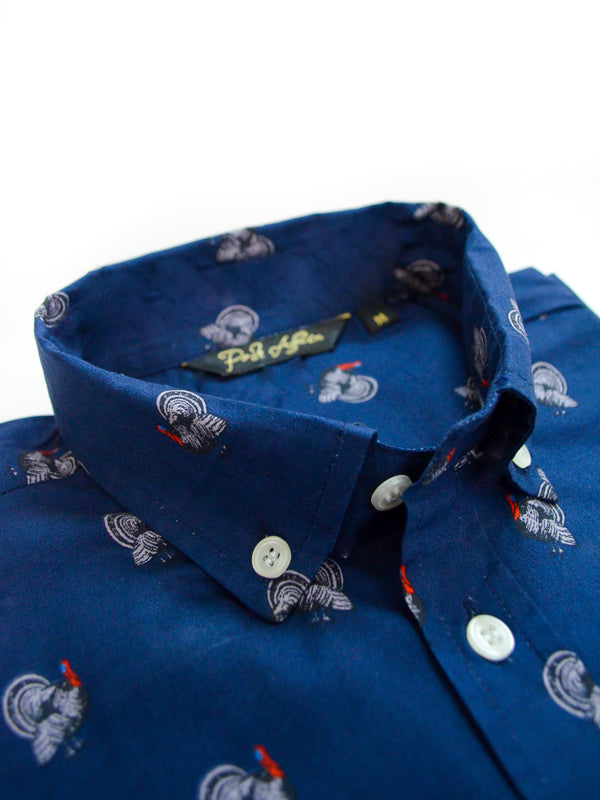 Rooster Print Casual Men's Shirt