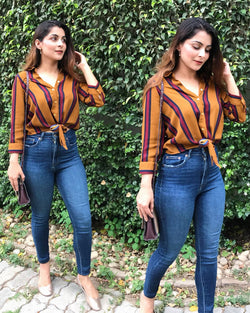 Printed Striped Knot Up Top