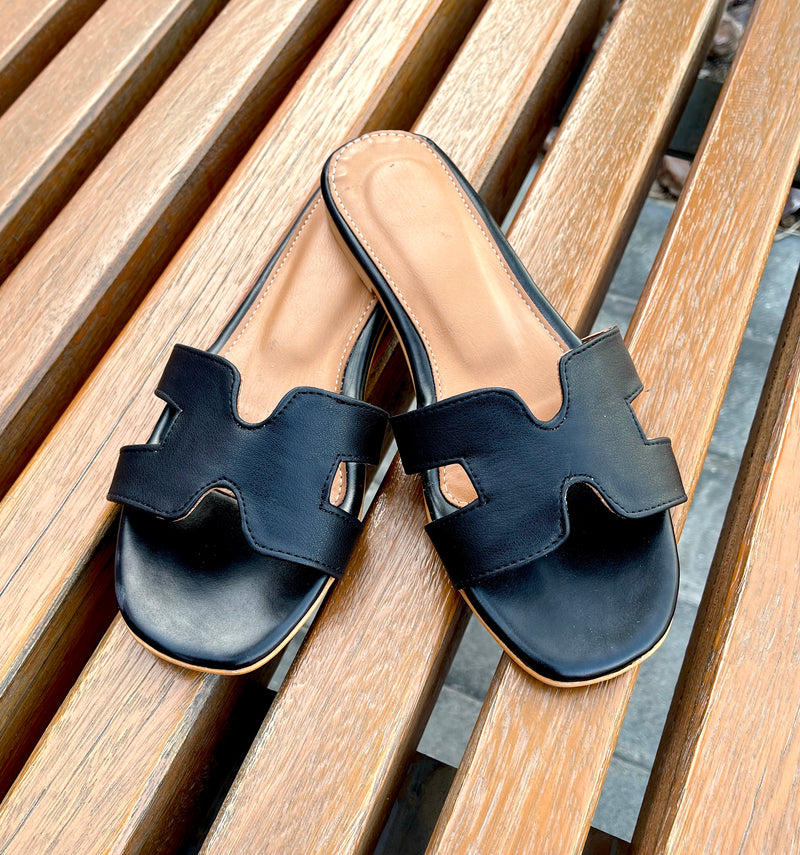 Women's Black Slides