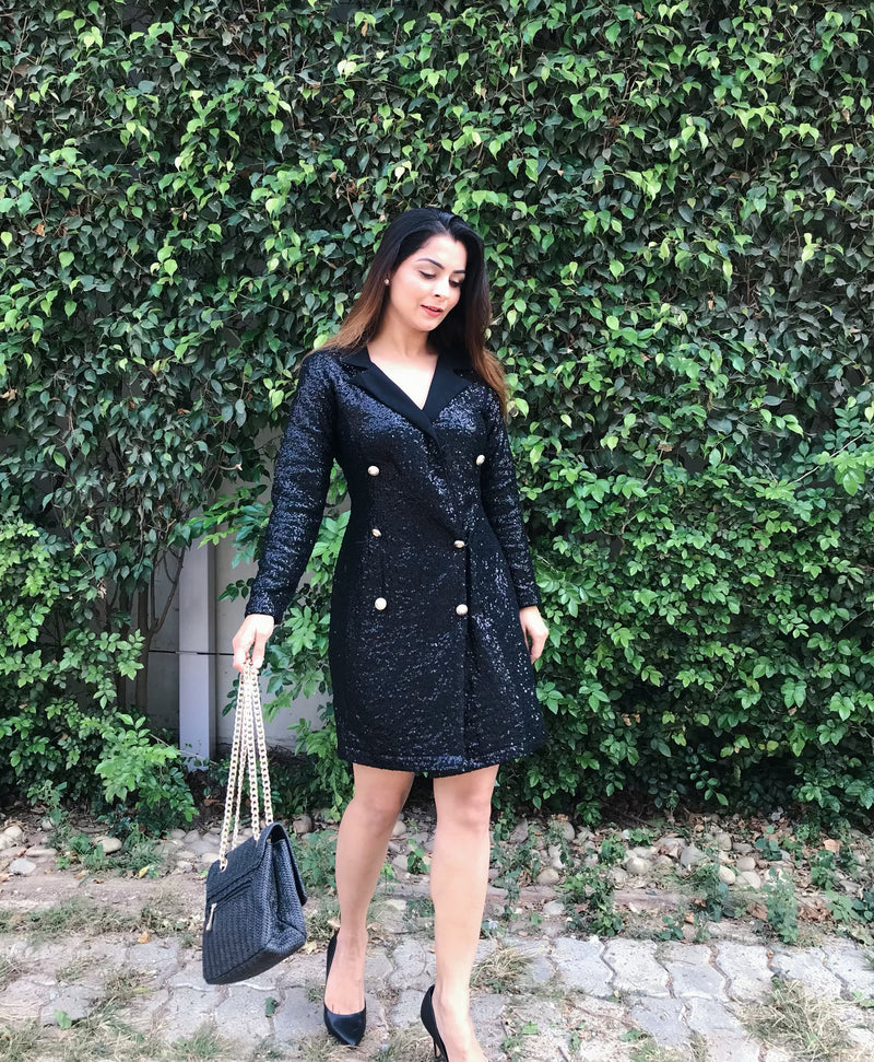 Black Sequins Coat Dress