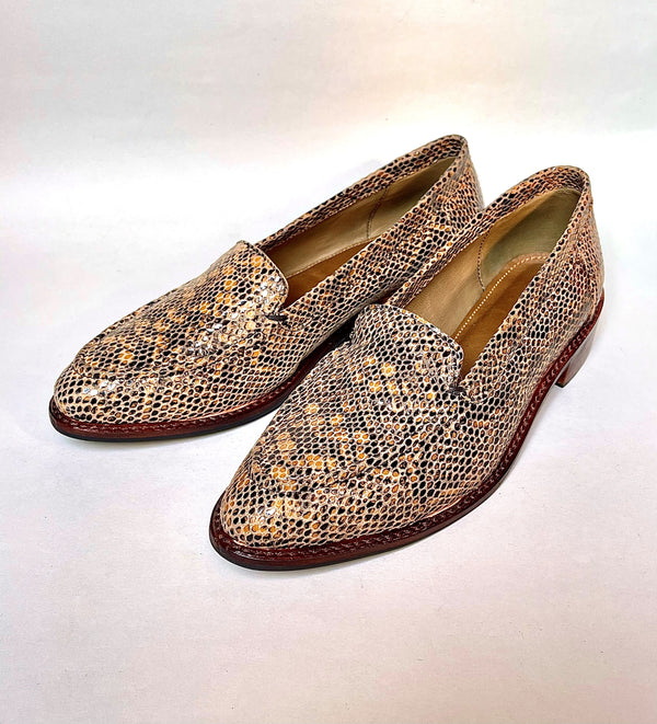 Women Leather Snake Patterned Loafers