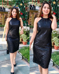 Black Sequins Party Starter Dress