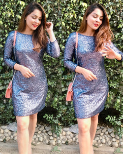 Teal Sequins Dress