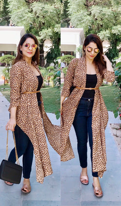 Leopard Print High Low Shrug
