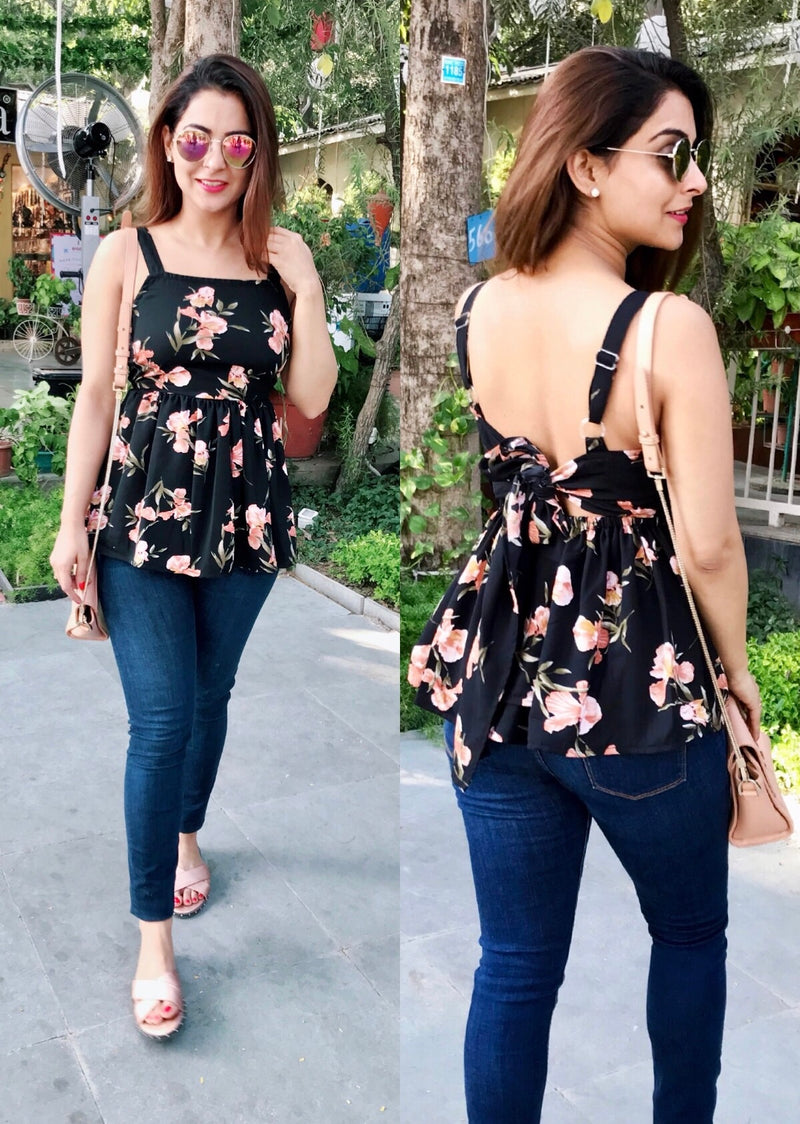 Floral Tie Up Back Top