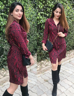 Wine Printed Shirt Dress
