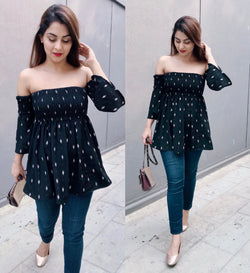 Black Printed Off Shoulder Top