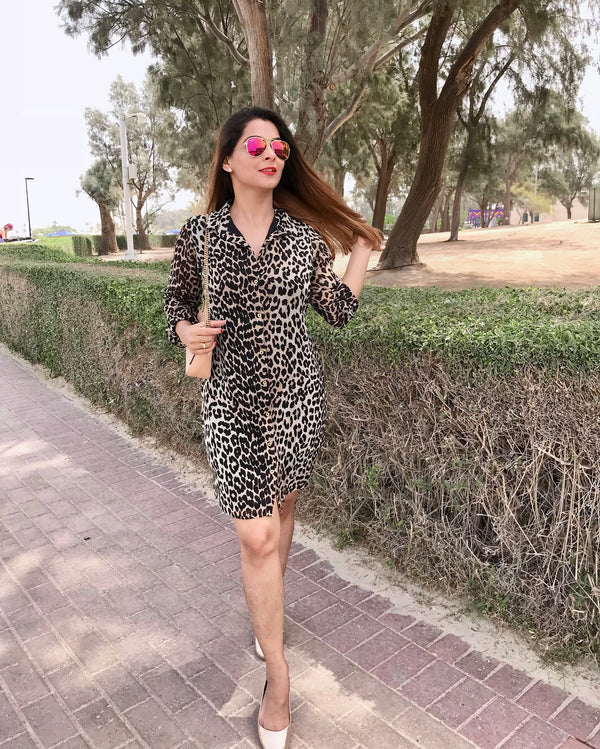 Leopard Print Shirt Dress