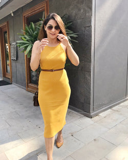 Mustard Ribbed Belt Dress