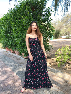 Black Floral Radley Maxi Dress