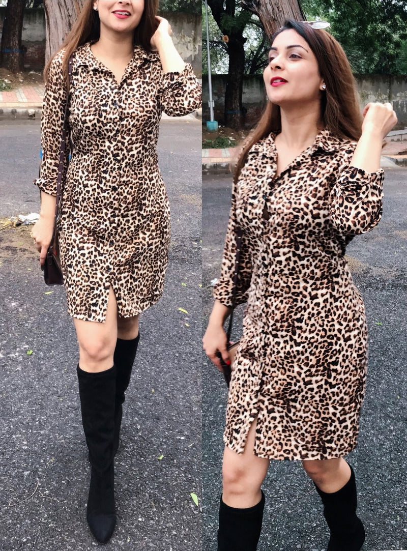 Leopard Printed Shirt Dress