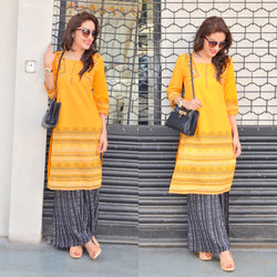 Boho pop orange kurta+palazzo set