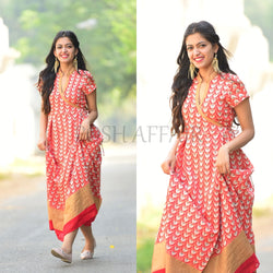 Red Angrakha style maxi