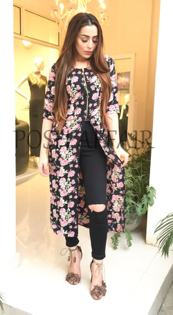 Black Floral Zipper Cape